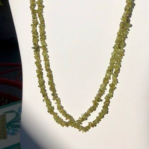 Jewelry - Genuine Peridot Tumbled Chip Necklace-Set of Two